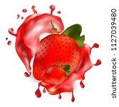 ripe tasty single strawberry in ... | Shutterstock .eps vector #1127039480
