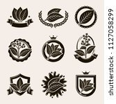tobacco leaf label and icons... | Shutterstock .eps vector #1127058299