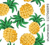 tropical yellow pineapples on... | Shutterstock .eps vector #1127060093