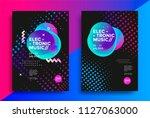 electronic music poster design. ... | Shutterstock .eps vector #1127063000