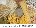 foods high in carbohydrate on... | Shutterstock . vector #1127063150