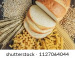 foods high in carbohydrate on... | Shutterstock . vector #1127064044