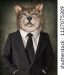 wolf in a suit. man with a head ... | Shutterstock . vector #1127075309