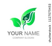 logo leaves with beautiful... | Shutterstock .eps vector #1127075453