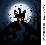 halloween night background with ... | Shutterstock . vector #112707799