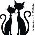 Stock vector silhouette of two black cats 112707844
