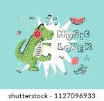 music lover t shirt print... | Shutterstock .eps vector #1127096933