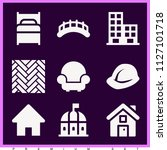 set of 9 buildings filled icons ... | Shutterstock .eps vector #1127101718