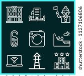 set of 9 holidays outline icons ...   Shutterstock .eps vector #1127106806