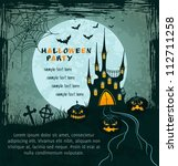 grungy halloween background... | Shutterstock .eps vector #112711258