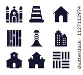 set of 9 buildings filled icons ... | Shutterstock .eps vector #1127112974