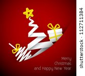 simple vector red christmas... | Shutterstock .eps vector #112711384