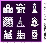 set of 9 buildings filled icons ... | Shutterstock .eps vector #1127114510