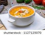 crab cream soup | Shutterstock . vector #1127125070