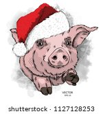 pig in santa claus hat. new... | Shutterstock .eps vector #1127128253