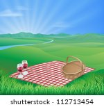 Постер, плакат: Illustration of a picnic