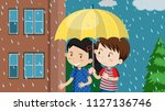 a couple walking in the rain ... | Shutterstock .eps vector #1127136746