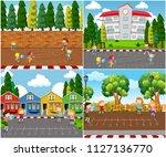 children playing outdoor math... | Shutterstock .eps vector #1127136770