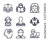 set of 9 user outline icons... | Shutterstock .eps vector #1127140514