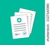 hospital documents. doctor... | Shutterstock .eps vector #1127163380