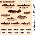 skyline city set. 10 cities of... | Shutterstock .eps vector #112716439