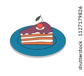 slice cake with doodle art and...   Shutterstock .eps vector #1127179826