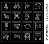 set of 16 icons such as torii...