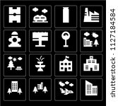 set of 16 icons such as... | Shutterstock .eps vector #1127184584