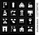 set of 16 icons such as train ...