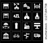 set of 16 icons such as truck   ...