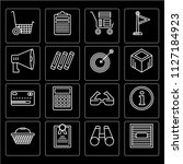 set of 16 icons such as box ...