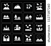 set of 16 icons such as igloo ...