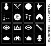 set of 16 icons such as hamsa ...