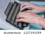hand on type old style... | Shutterstock . vector #1127191559