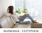 relaxed thoughtful woman... | Shutterstock . vector #1127191616