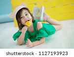 child with ice cream   | Shutterstock . vector #1127193923