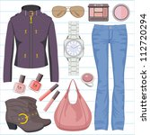 fashion set with jeans and a... | Shutterstock .eps vector #112720294