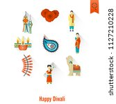 diwali. indian festival icons.... | Shutterstock .eps vector #1127210228