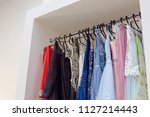 evening long dresses on hanger... | Shutterstock . vector #1127214443