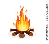 bonfire with firewood isolated... | Shutterstock .eps vector #1127216306