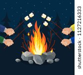 bonfire with marshmallow  stone ... | Shutterstock .eps vector #1127216333