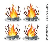 set ot bonfire with stone  rock ... | Shutterstock .eps vector #1127216399