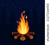 bonfire with firewood isolated... | Shutterstock .eps vector #1127216453