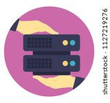 hands holding server hosting ... | Shutterstock .eps vector #1127219276