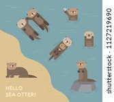 A Cute Sea Otter Playing In Th...