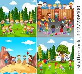 set of children playing... | Shutterstock .eps vector #1127239400