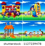 set of children playing ... | Shutterstock .eps vector #1127239478