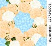 orange rose  blue hydrangea and ... | Shutterstock .eps vector #1127240006