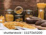 various kinds of pasta and... | Shutterstock . vector #1127265200