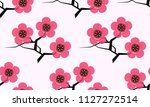 cherry tree branches seamless... | Shutterstock .eps vector #1127272514